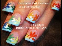 Nail Art Tutorial | 420 Nails | Rainbow Pot Leaf Spring Nail design - YouTube