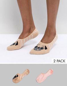 Sock Shop #pug 2 Pack Footsie