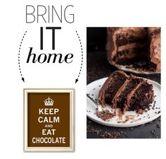 """Bring It Home: Keep Calm and Eat Chocolate Framed Art Print"" by polyvore-editorial ❤ liked on Polyvore featuring interior, interiors, interior design, home, home decor, interior decorating and bringithome"