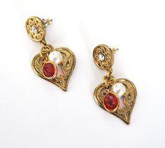Vintage 1928 Heart Drop Earrings New on Card by #LovesVintageDelights, $13.00 #jetteam #jewleryonetsy