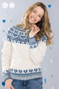 Vinterhjerter genser i natur Fair Isle Knitting, Crochet, Pullover, Sweaters, Barn, Fashion, Tejidos, Tricot, Blouse