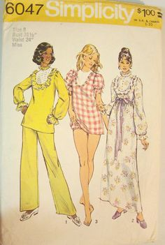 70s Nightgown & Pajamas Pattern Size 8 Bust by AnotherEraPatterns