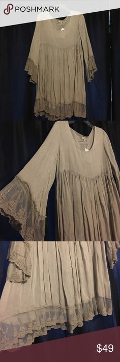 """♥️Host Pick SALE♥️Hippie Chic Dress NWT. Soft beige, more grey then brown. Lace trim on sleeves and the hem. Can be a top Or dress. From middle of scoop neck to hem= 28"""". Back of collar to back hem= 31"""". Sleeve= 22"""". Purchased at local boutique. 🚫 trade Velzera Dresses Mini"""
