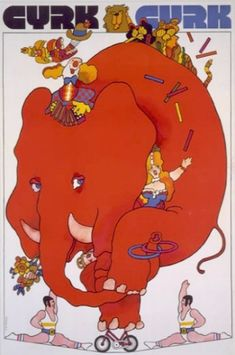 """""""Elephant on bike"""" (1972) by Waldemar Swierzy is another great poster which combines several hidden messages. The large red elephant (USSR) attempts to stay balanced on a tiny bike - it's only a matter of time until he falls. The two acrobats at the bottom are identical, mirror-images. This was used by Polish artists to say that the Communist government was double-dealing and not to be trusted."""