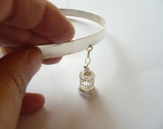 sterling silver handmade collar with cage by BIZARREjewelry on Etsy