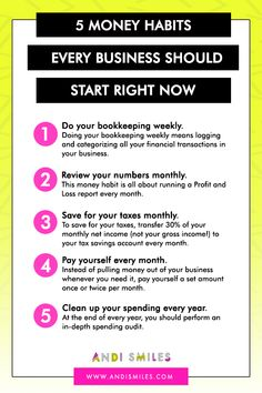 5 Money Habits Every Business Should Start Now – Finance tips, saving money, budgeting planner Small Business Bookkeeping, Small Business Accounting, Business Advice, Business Planning, Finance Business, Business Entrepreneur, At Home Business Ideas, Accounting Help, Online Business