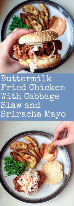 Buttermilk Fried Chicken Sandwiches with Cabbage Slaw and Sriracha Mayo