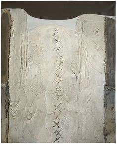 White Crosses by ANTONI TÀPIES 1959 mixed media on canvas 162 by 130cm