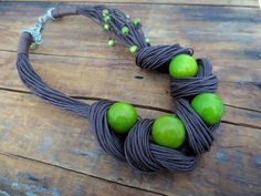 Tagua Nut Statement Necklace Linen Necklace Light by ReTeTeer