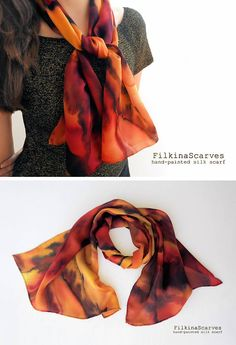 Hand Painted silk scarf Narrow scarf Orange Silk Neck Hand Hat Summer Hair scarf Band Bag Scarf Trendy Headband Women Fashion Scarf