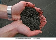 A hand holding black volcanic soil. - stock photo
