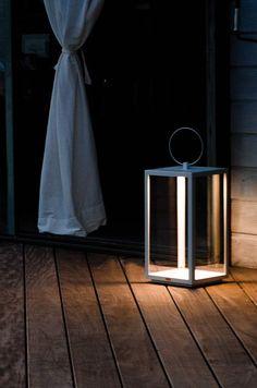 Lantern Oslo W 25 H 71 with battery charger - Unopiù Oslo, Home Lanterns, Garden Lanterns, White Wall Lights, Lantern Designs, Led Lantern, Exterior Lighting, Garden Accessories