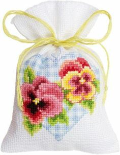 Violas in Blue Heart Bag from Vervaco counted cross stitch kit. Cross Stitch Heart, Cute Cross Stitch, Counted Cross Stitch Kits, Cross Stitch Flowers, Cross Stitch Designs, Cross Stitch Patterns, Diy Embroidery, Cross Stitch Embroidery, Lavender Bags
