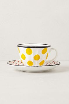 so cute, dot pop cup & saucer. Loving dots right now Ceramic Cups, Ceramic Pottery, Tea Cup Set, Cute Mugs, Deco Design, Mellow Yellow, Dinner Plates, Cup And Saucer, Coffee Cups