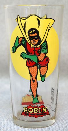 1976 Robin Pepsi Glass  Batman Moon Series by SoftFocusVintage