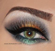 Death's Head Moth Caterpillars Yellow Smokey Eye #Eyeshadow #Makeup #ColorfulSmokeyEye