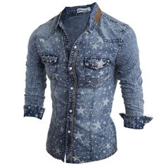 Latest Fashion Men Faded Jeans Shirt Leisure Slim Fit Casual Denim Long Sleeve Shirt