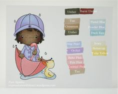Umbrella Lula and I here to show Promarker and Flexmarker colors.I've colored five skin tones and a variety of colors to hopefully give you an idea of how the colors look and work together. I haven't colored with these markers. Pro Markers, Alcohol Markers, Copic Markers, Coloring Tips, Coloring Pages, Papel Scrapbook, Scrapbooking, Cute Umbrellas, Pink Cocktails