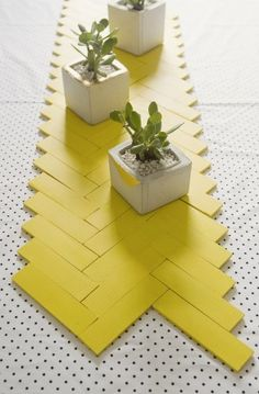 geometric table runner made with paint sticks