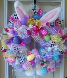 EASTER BUNNY WREATH Spring/ Pastel Wreath by OfftheWallKreations, $88.90