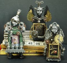 Steampunk Shrines created using RetroCafeArt Fairy Shrines.  May 2014.  2 are available.on ETSY