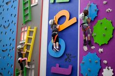 Funtopia Birthday Parties Sender One Climbing Indoor Rock Climbing Gym Playground Swing Set, Backyard Playground, Rock Climbing Gym, Ecole Design, Kids Cafe, School Murals, Kindergarten Design, Kids Gym, Kids Play Area