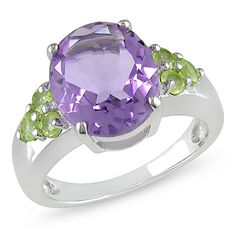 amethyst and peridot ring...I would love this if the amethyst was replaced with blue topaz!