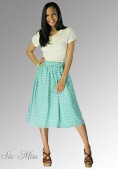 Mid-Length Mint Polka Dot Skirt  www.Sis-Miss.com #cutesistermissionaryclothes #sistermissionaryclothes  #sismiss2015