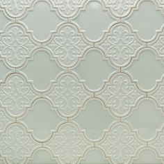 Byzantine Florid Arabesque Alice Blue Ceramic Wall Tile | TileBar.com