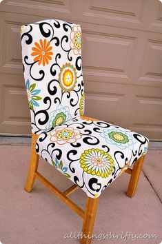 how-to-upholster-a-chair by allthingsthrifty. these are seriously darling!