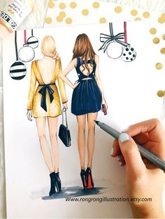 Best friend Fashion illustration,Best friends gift, Gossip Girl Blair and Serena by Houston fashion illustrator Rongrong Devoe, more fashion art www.rongrongillustration.etsy.com
