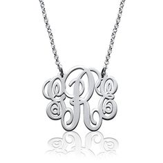 Fancy Sterling Silver Monogram Necklace - Custom Made with Any Initial! (14 Inches)