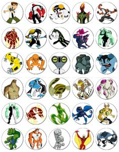 30 x Ben 10 Aliens Rice Paper Fairy Cup Cake Toppers