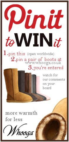 we shall see?    1. Pin This  2. Pin your favourite pair of ugg boots at www.whooga.co.uk  3. We'll comment on your board if you win