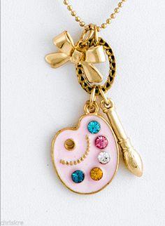 Art Artist Gift Palette Paint Brush Crystals Gold Necklace Earrings USA Seller #REVE #Pendant