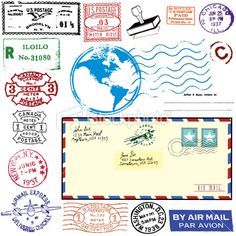 Exotic Vintage Airmail Royalty Free Stock Vector Art Illustration