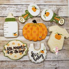 A little pumpkin is on the way. Boy Baby Shower Themes, Baby Shower Fall, Gender Neutral Baby Shower, Baby Boy Shower, Baby Cookies, Baby Shower Cookies, Royal Icing Cookies, Sugar Cookies, Pumpkin Gender Reveal