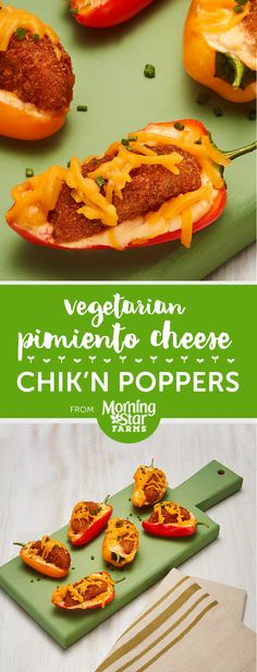 There's nothing better than a popper. Especially when it's vegged out chik'n smothered in melted pimiento cheese and cradled in its very own sweet pepper shell. If you're looking for the perfect appetizer or addition to your party spread, look no further. Mexican Food Recipes, Vegan Recipes, Snack Recipes, Dinner Recipes, Ethnic Recipes, Vegetarian Appetizers, Vegan Vegetarian, Game Night Food, Pimiento Cheese