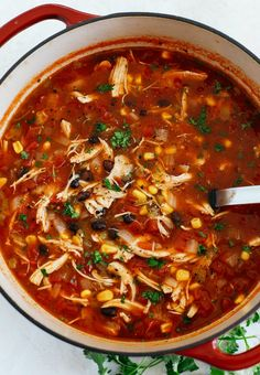 Chicken Tortilla Soup (Instant Pot, Slow Cooker and Stove-Top) - Eat Yourself Skinny soup healthy recipes rezepte soup soup Healthy Chicken Tortilla Soup, Chicken Fajita Soup, Mexican Tortilla Soup, Tso Chicken, Chicken Soups, Barbecue Chicken, Chicken Curry, Chicken Recipes, Cooker Recipes
