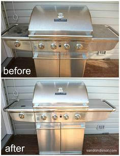 How to clean a stainless steel grill- the easiest way I've discovered.