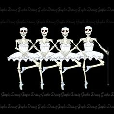 Dancing Skeletons - No.KM1227 - Digital illustration Image Iron on Transfer for Fabric, Pillows, Towels etc