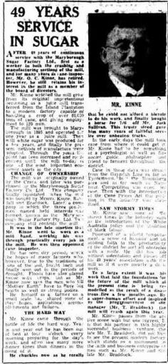 Mr O C Kinne - 49 years of service in Sugar