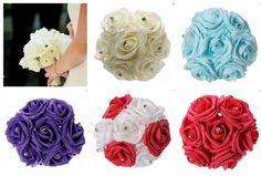 7 Heads Colourfast Foam Roses Crystal Artificial Flower Home Wedding Bride Bouquet Party Decoration Hand Flowers, Bridal Flowers, Flower Decorations, Wedding Decorations, Wedding Bouquets, Wedding Cakes, Crystal Bouquet, Engagement Cakes, Wedding Gallery