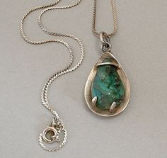Scandinavian MODERNIST Necklace Moss Agate PENDANT Sterling Silver Jewelry SWEDEN Signed c.1950's