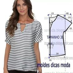 http://moldesdicasmoda.com/blusa-de-riscas-91/ #moldes #moda #costura #fashionstyle #fashion #blusas #diy #handmade #facil #patrones #summer #modafeminina #tutorial
