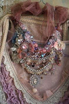 Muse -- shabby chic hand embroidered lace and cotton necklace with beadwork and cameo