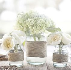 Casual dinner twine vase centerpiece