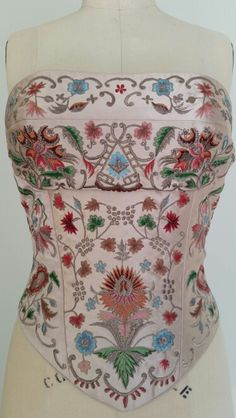 #Les Habitudes #Los Angeles romantic pink duchess silk bustier #Embroidered  with metallic thread and colored#Lace up back!!
