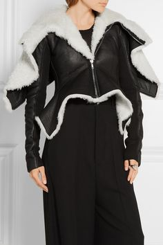 Rick Owens | Metro wool-trimmed shearling and leather biker jacket | NET-A-PORTER.COM