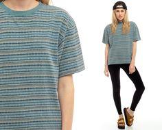 Striped Shirt Aztec Tribal Tshirt Grunge Tee T by ShopExile